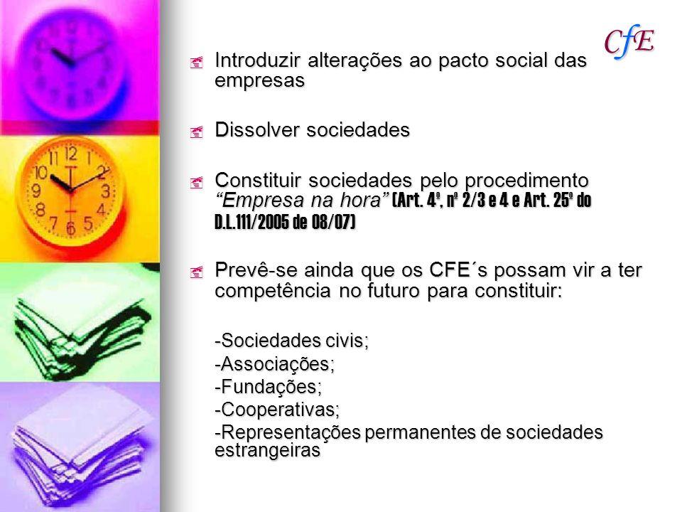CfE Introduzir alterações ao pacto social das empresas