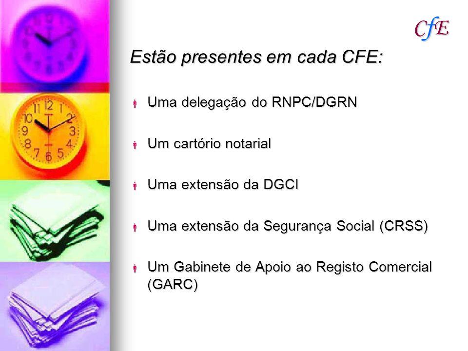 CfE Estão presentes em cada CFE: Uma delegação do RNPC/DGRN