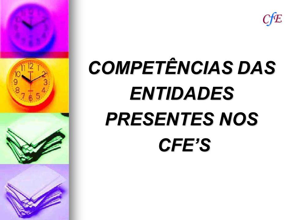 COMPETÊNCIAS DAS ENTIDADES PRESENTES NOS CFE'S