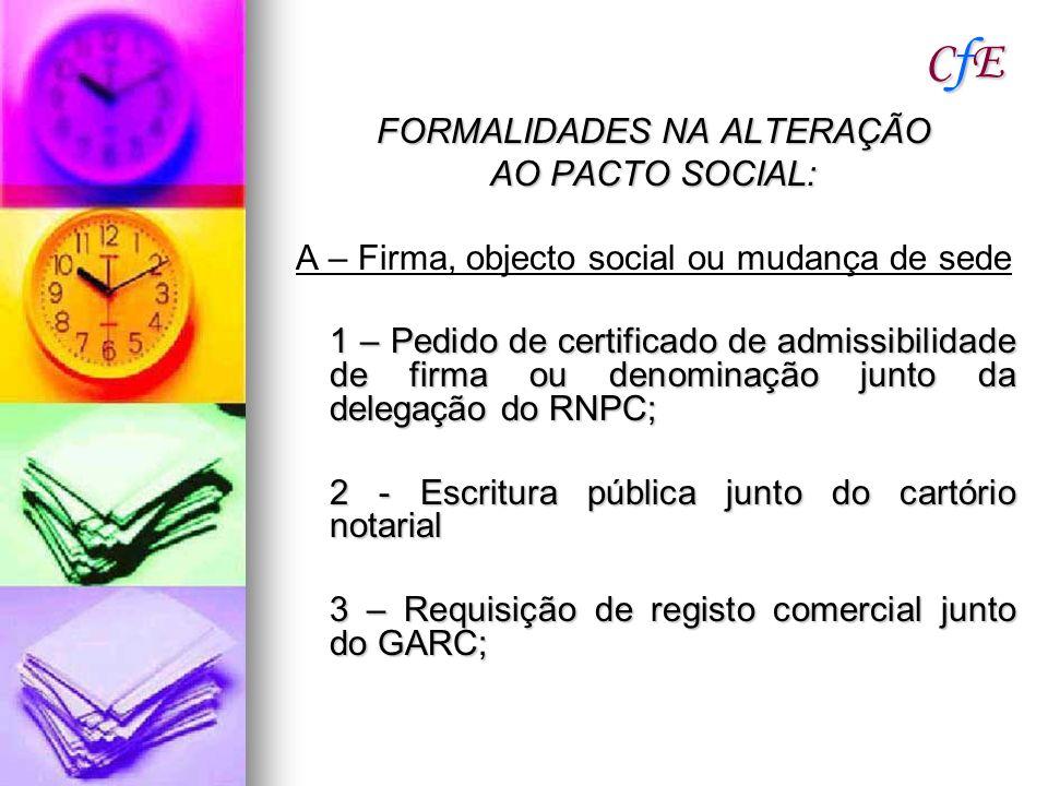 CfE FORMALIDADES NA ALTERAÇÃO AO PACTO SOCIAL: