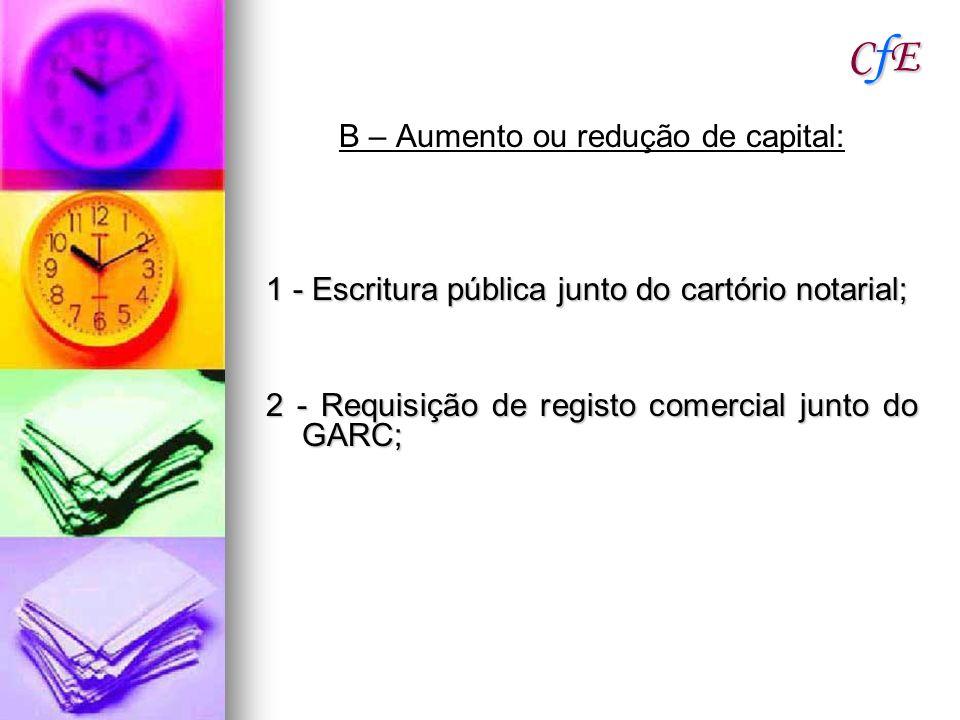 B – Aumento ou redução de capital: