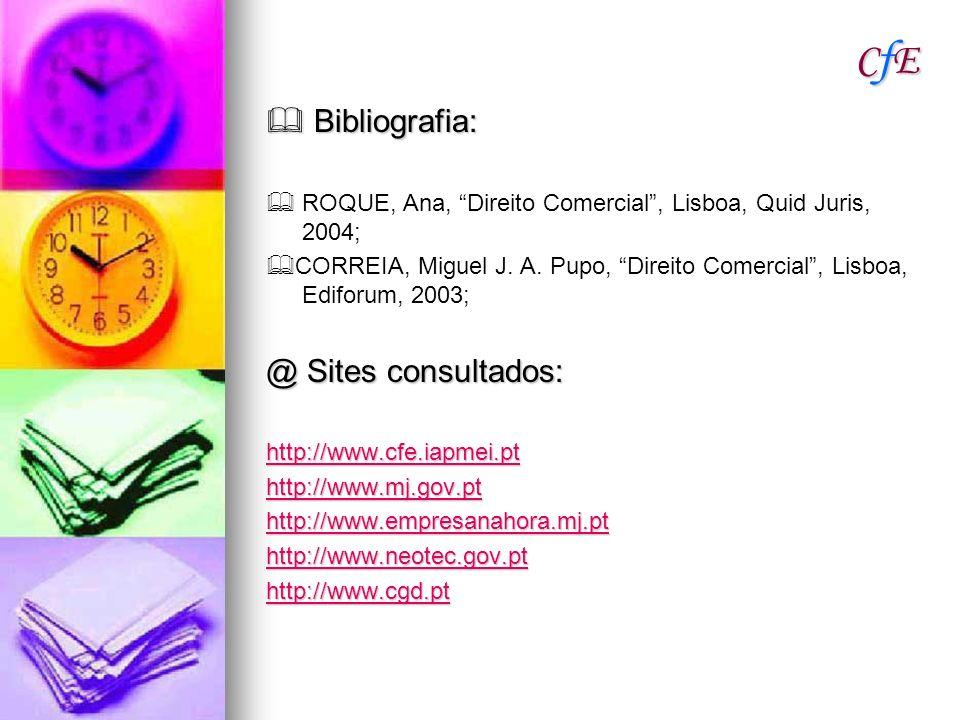CfE  Bibliografia: @ Sites consultados: