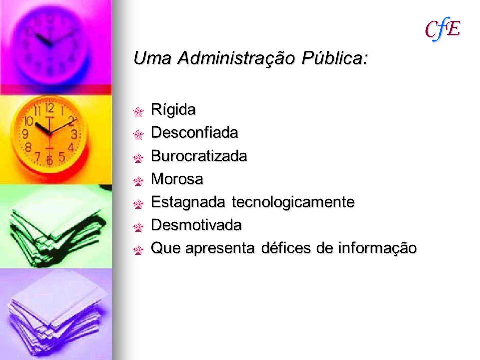 CfE Uma Administração Pública: Rígida Desconfiada Burocratizada Morosa