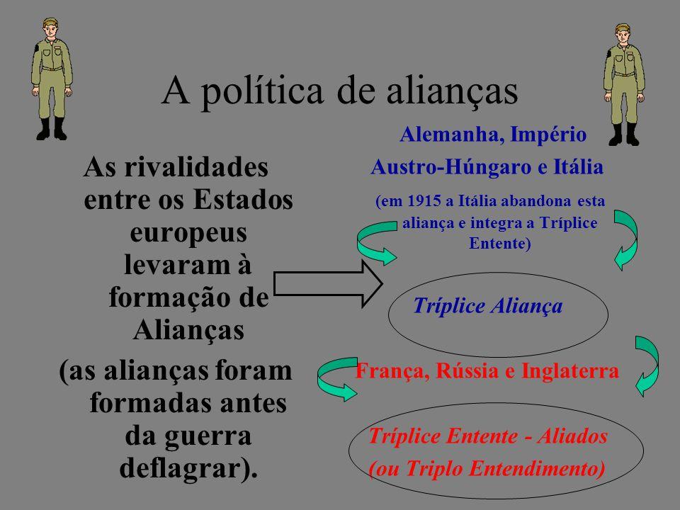 A política de alianças Alemanha, Império. Austro-Húngaro e Itália. (em 1915 a Itália abandona esta aliança e integra a Tríplice Entente)
