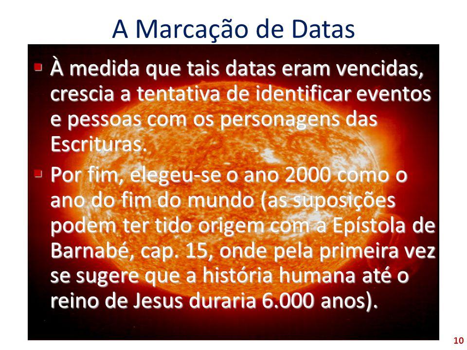A Marcação de Datas À medida que tais datas eram vencidas, crescia a tentativa de identificar eventos e pessoas com os personagens das Escrituras.