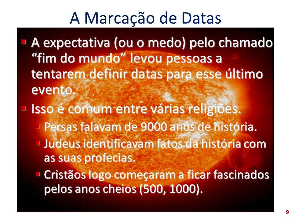 A Marcação de Datas A expectativa (ou o medo) pelo chamado fim do mundo levou pessoas a tentarem definir datas para esse último evento.