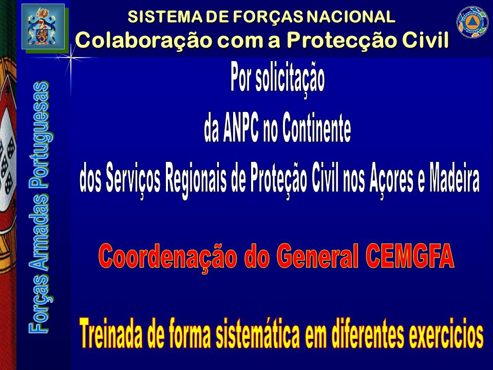SISTEMA DE FORÇAS NACIONAL Colaboração com a Protecção Civil