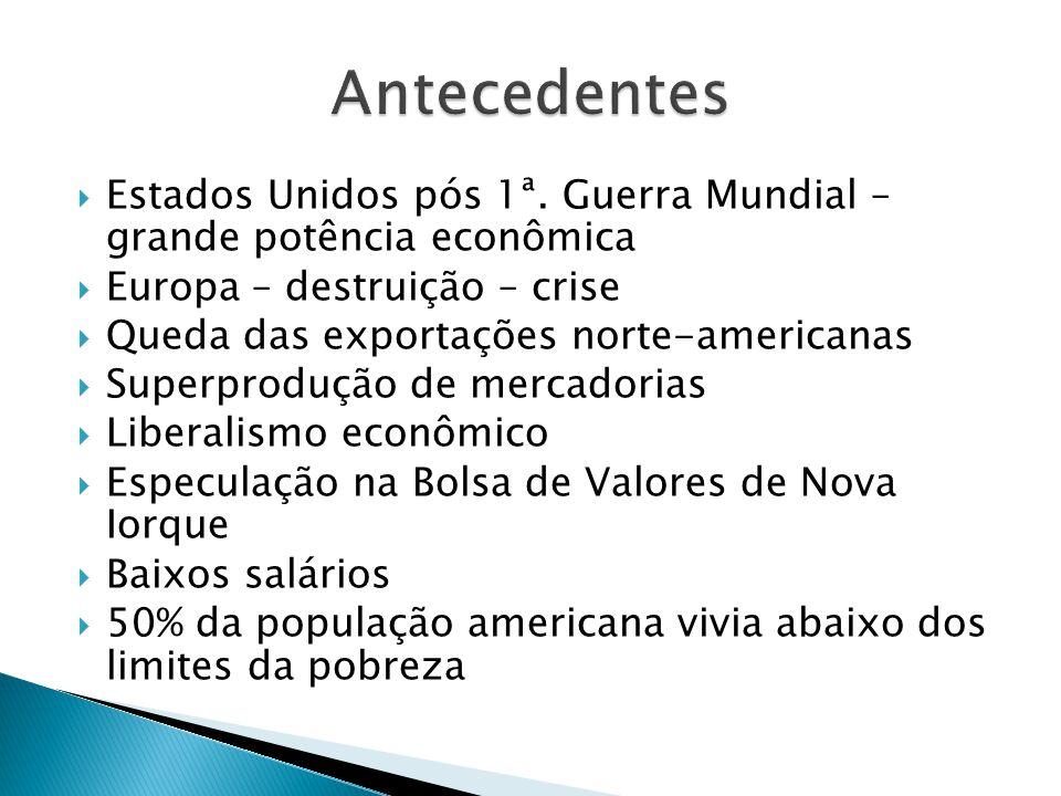 Antecedentes Estados Unidos pós 1ª. Guerra Mundial – grande potência econômica. Europa – destruição – crise.