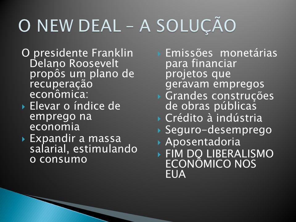 O NEW DEAL – A SOLUÇÃO O presidente Franklin Delano Roosevelt propôs um plano de recuperação econômica: