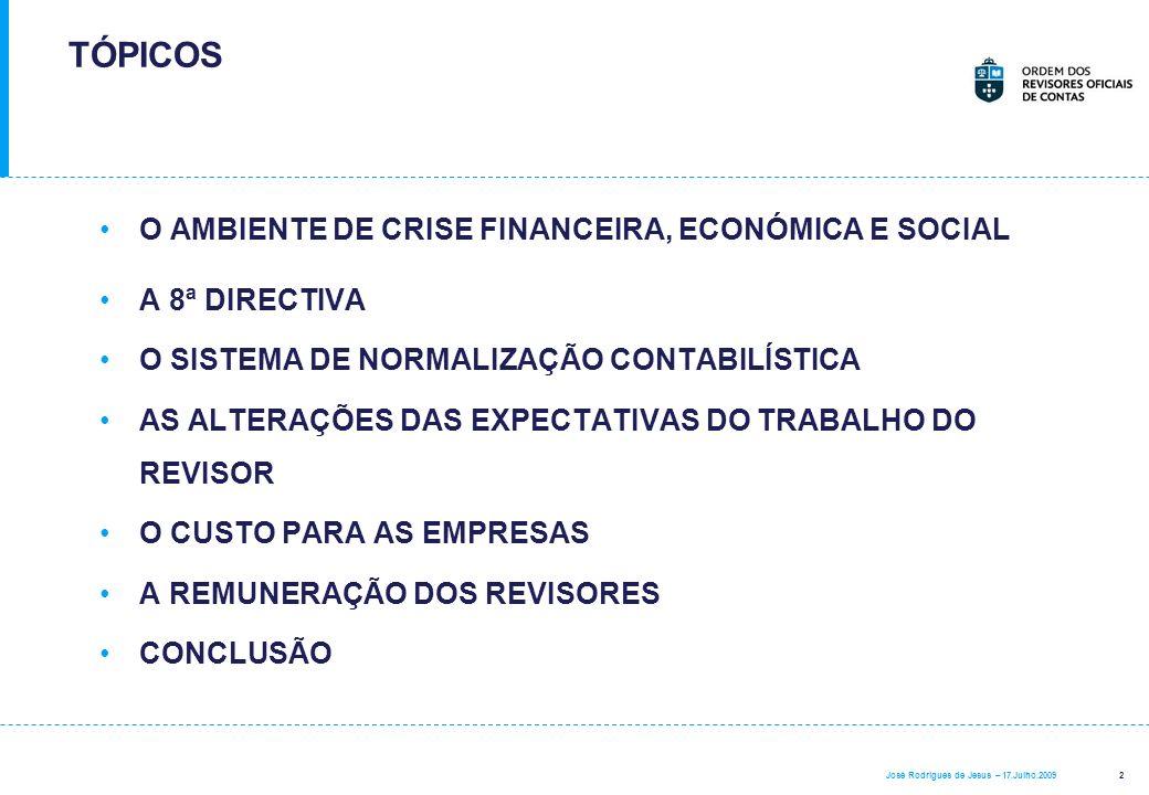 TÓPICOS O AMBIENTE DE CRISE FINANCEIRA, ECONÓMICA E SOCIAL
