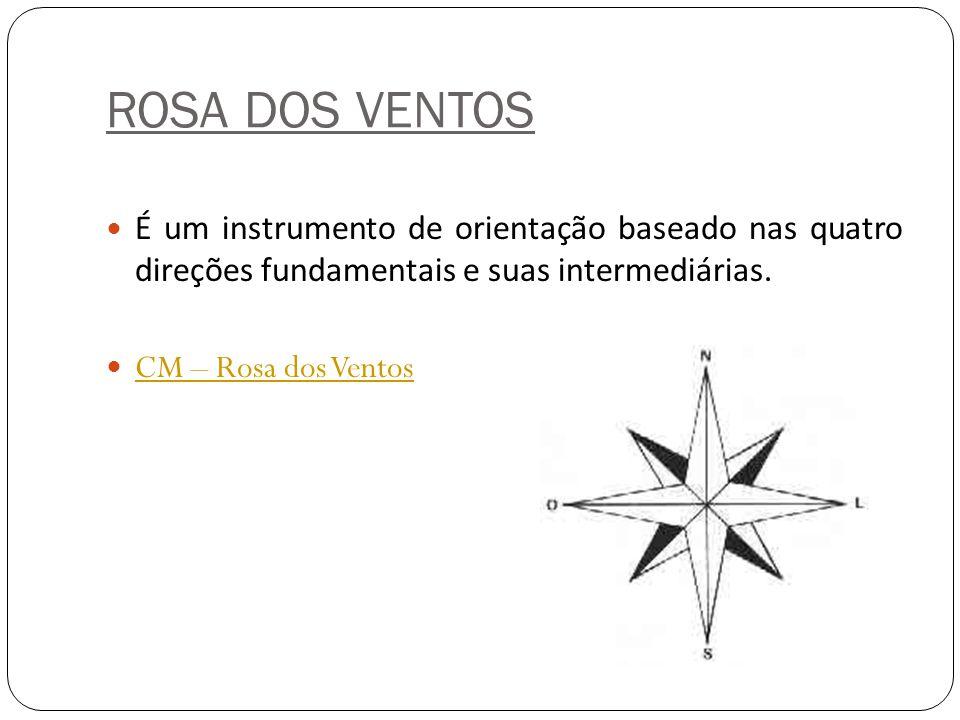 ROSA DOS VENTOS É um instrumento de orientação baseado nas quatro direções fundamentais e suas intermediárias.