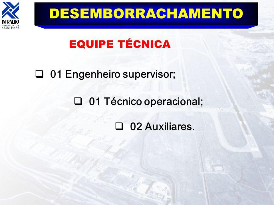 DESEMBORRACHAMENTO EQUIPE TÉCNICA 01 Engenheiro supervisor;