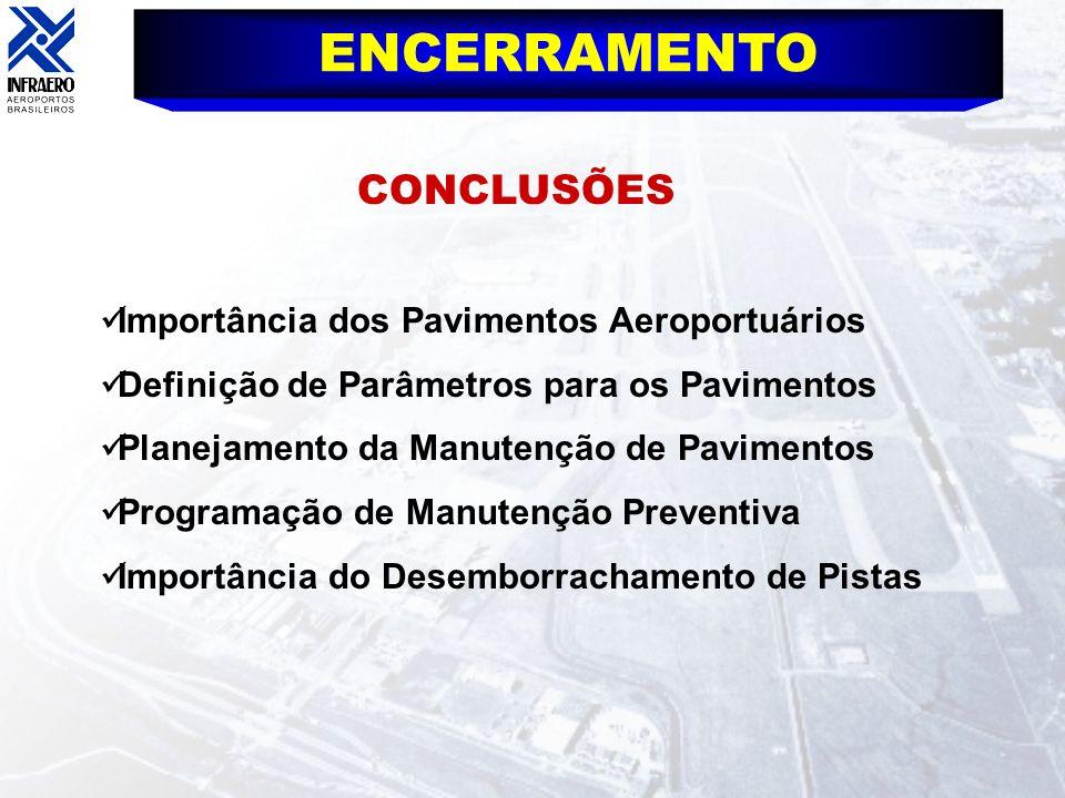 ENCERRAMENTO CONCLUSÕES Importância dos Pavimentos Aeroportuários