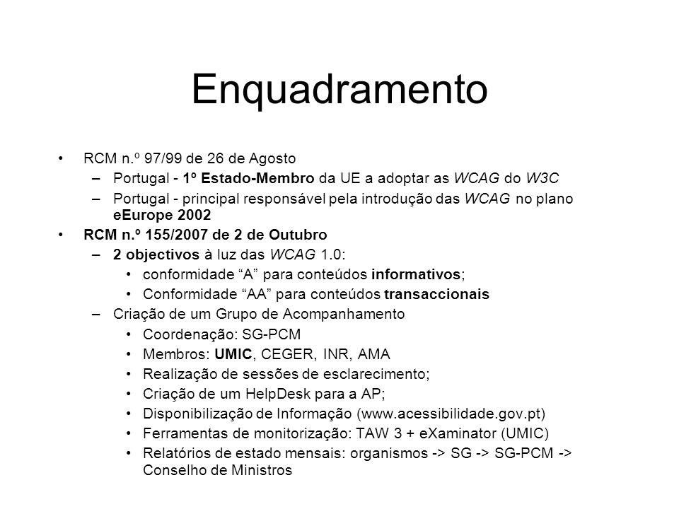 Enquadramento RCM n.º 97/99 de 26 de Agosto
