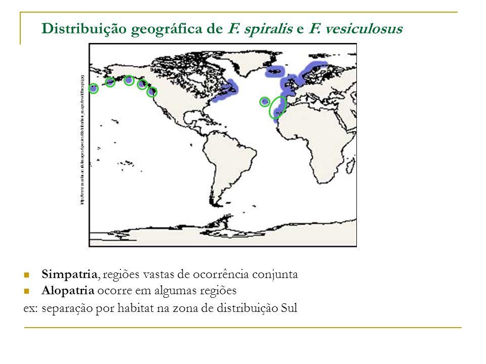 Distribuição geográfica de F. spiralis e F. vesiculosus