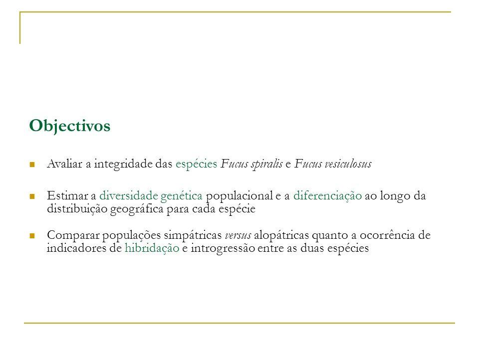 Objectivos Avaliar a integridade das espécies Fucus spiralis e Fucus vesiculosus.