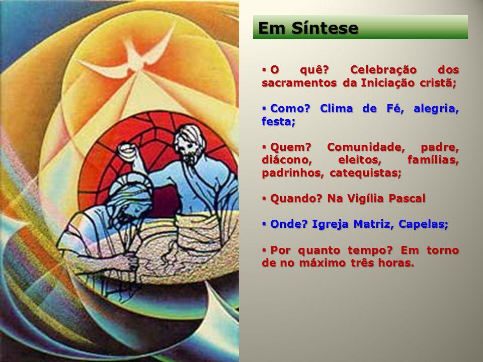 Em Síntese O quê Celebração dos sacramentos da Iniciação cristã;