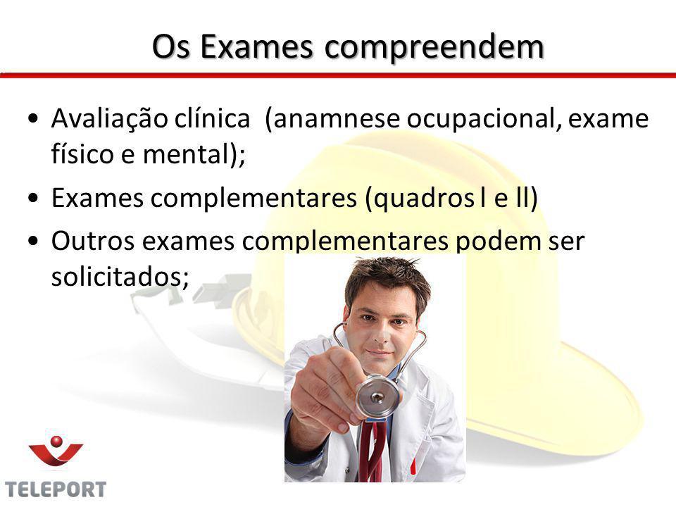 Os Exames compreendem Avaliação clínica (anamnese ocupacional, exame físico e mental); Exames complementares (quadros l e ll)