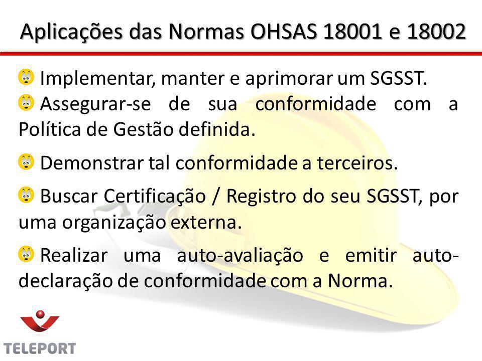 Aplicações das Normas OHSAS 18001 e 18002