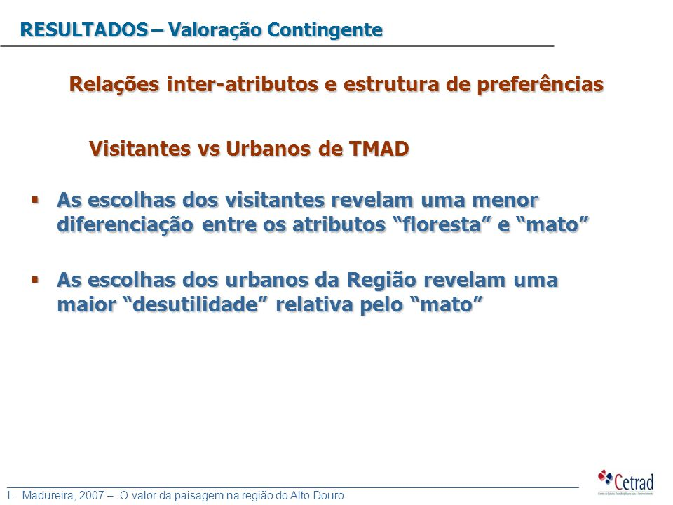 Relações inter-atributos e estrutura de preferências
