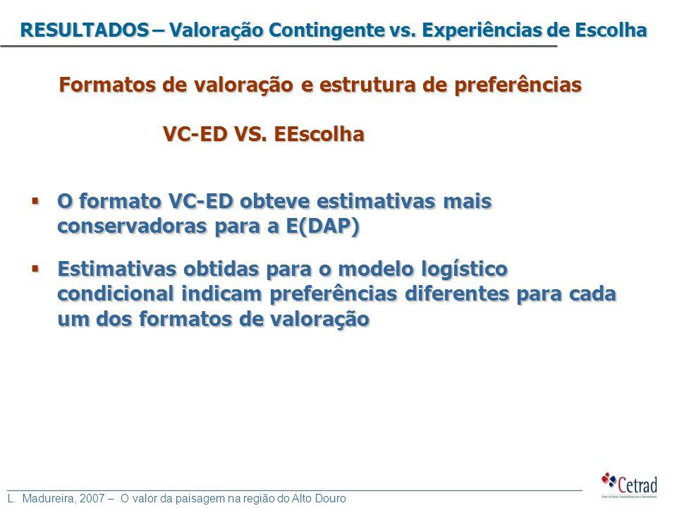 Formatos de valoração e estrutura de preferências