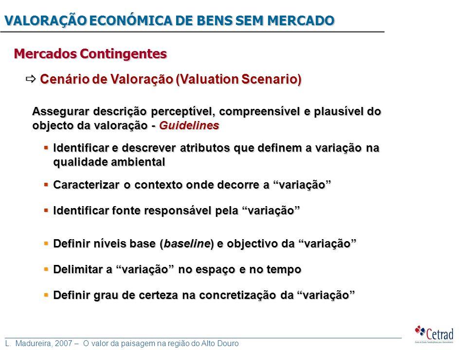 VALORAÇÃO ECONÓMICA DE BENS SEM MERCADO