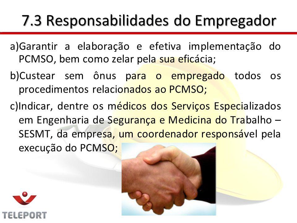 7.3 Responsabilidades do Empregador
