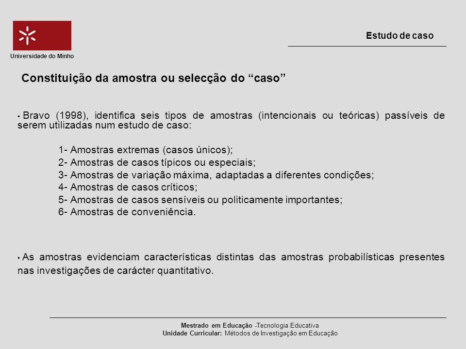 Constituição da amostra ou selecção do caso