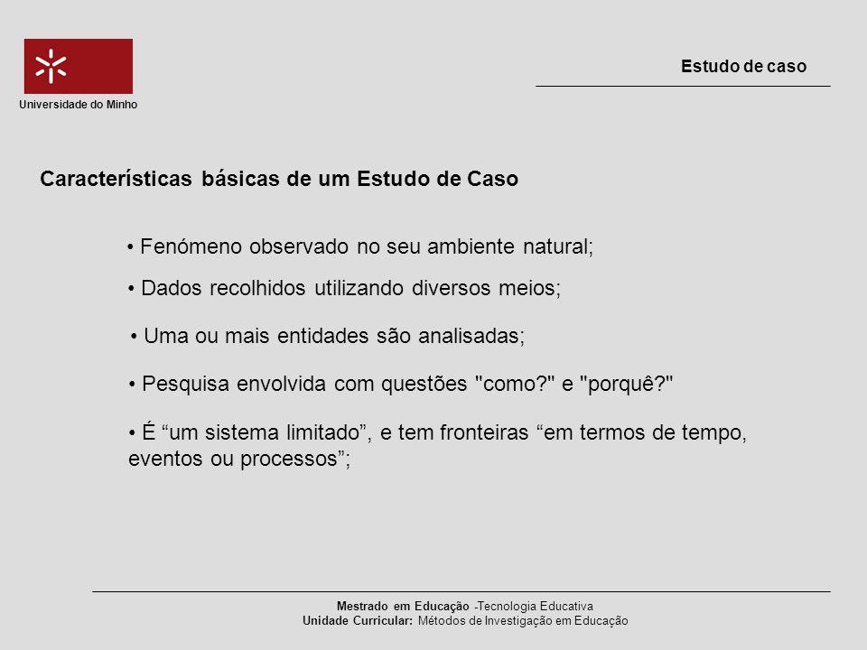 Características básicas de um Estudo de Caso