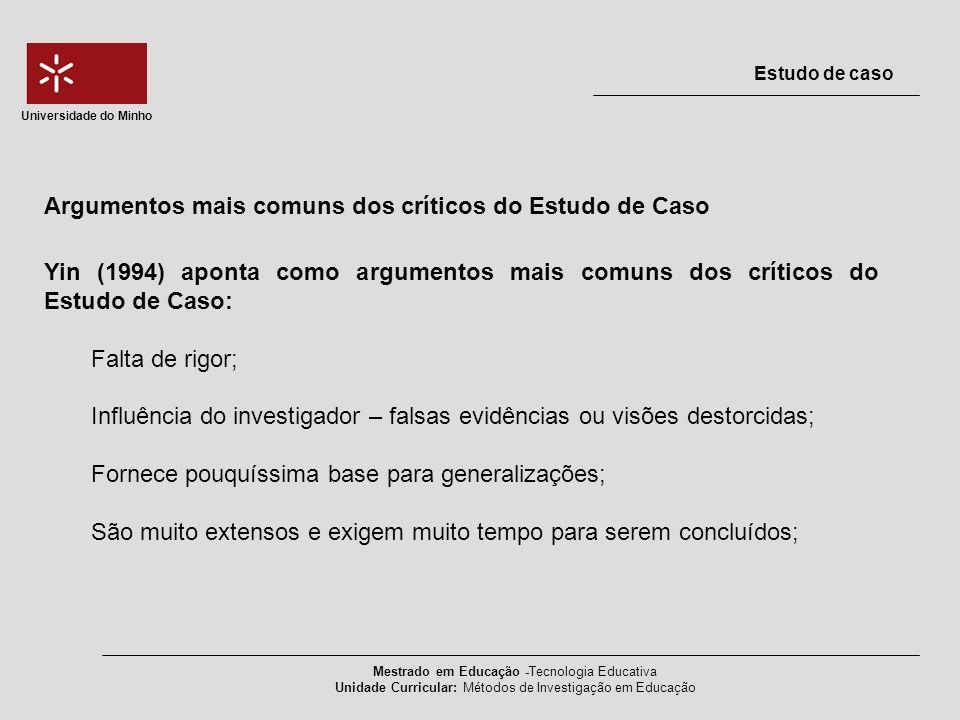 Argumentos mais comuns dos críticos do Estudo de Caso