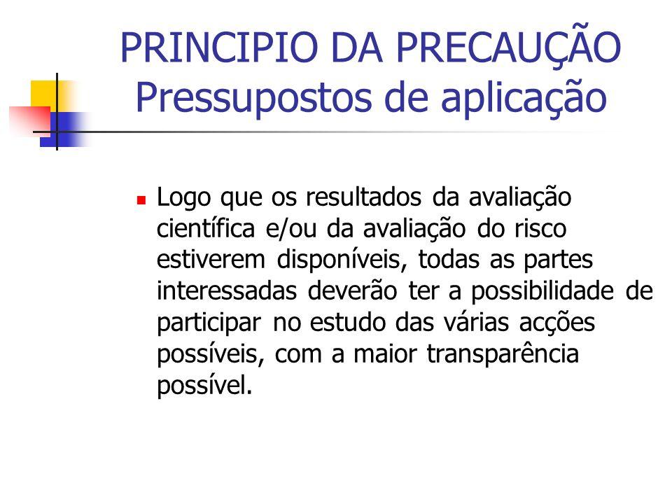 PRINCIPIO DA PRECAUÇÃO Pressupostos de aplicação