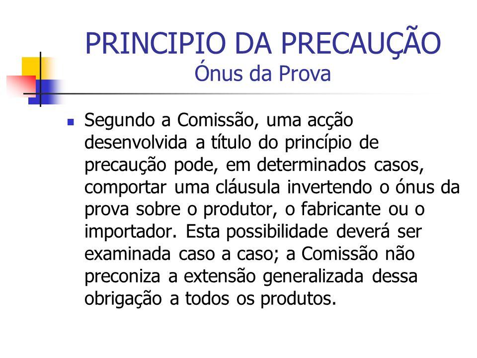 PRINCIPIO DA PRECAUÇÃO Ónus da Prova