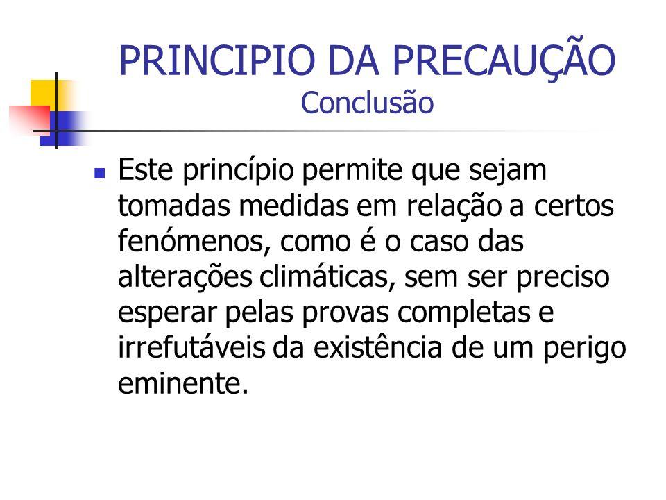 PRINCIPIO DA PRECAUÇÃO Conclusão
