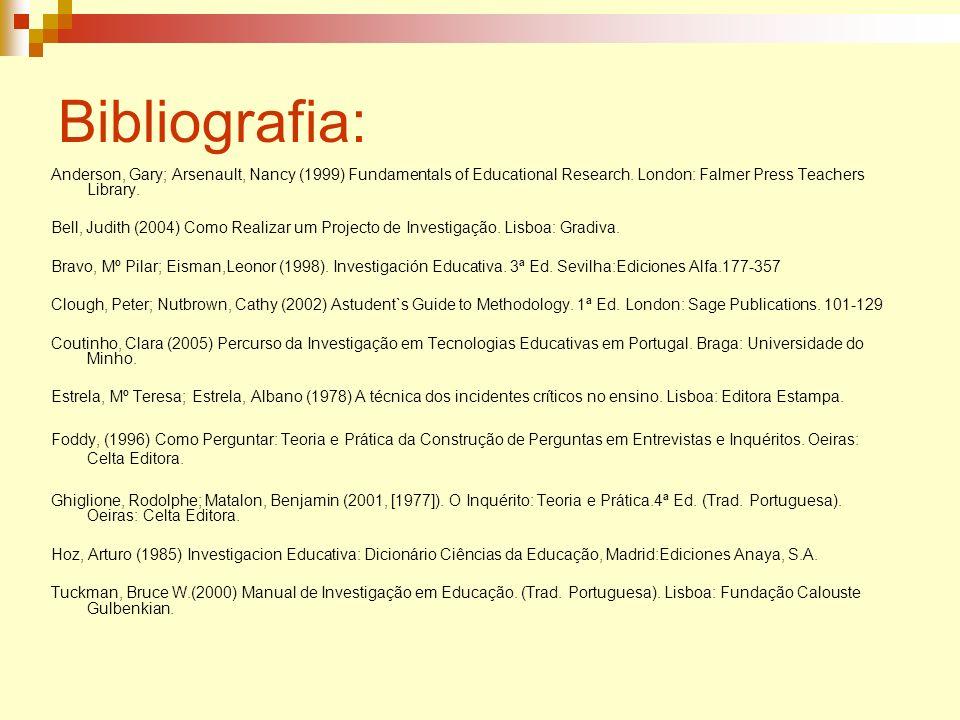 Bibliografia:Anderson, Gary; Arsenault, Nancy (1999) Fundamentals of Educational Research. London: Falmer Press Teachers Library.