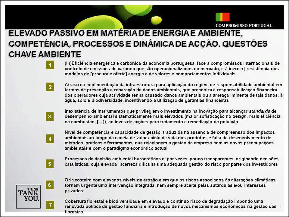 ELEVADO PASSIVO EM MATÉRIA DE ENERGIA E AMBIENTE, COMPETÊNCIA, PROCESSOS E DINÂMICA DE ACÇÃO. QUESTÕES CHAVE AMBIENTE