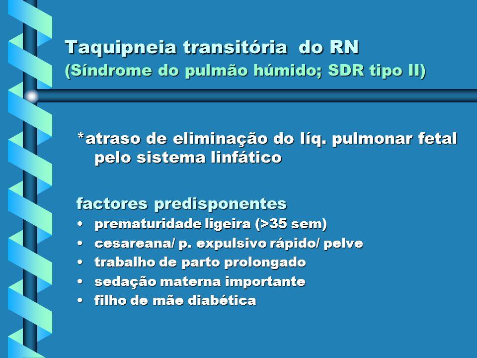 Taquipneia transitória do RN (Síndrome do pulmão húmido; SDR tipo II)