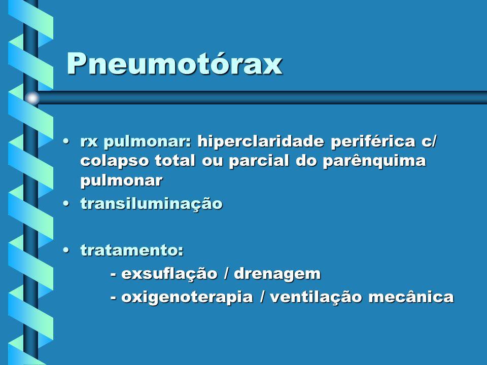 Pneumotórax rx pulmonar: hiperclaridade periférica c/ colapso total ou parcial do parênquima pulmonar.