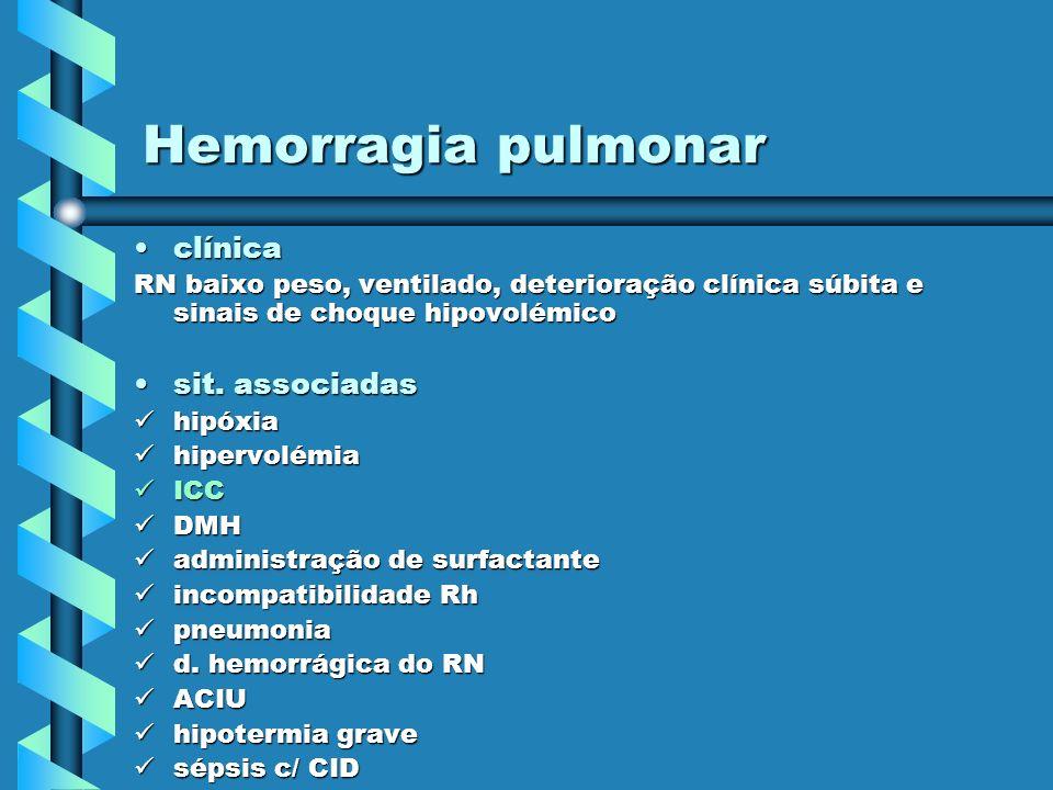Hemorragia pulmonar clínica sit. associadas