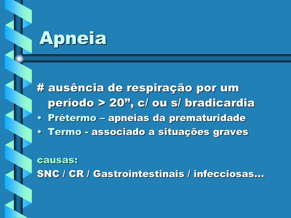 Apneia # ausência de respiração por um período > 20 , c/ ou s/ bradicardia. Prétermo – apneias da prematuridade.