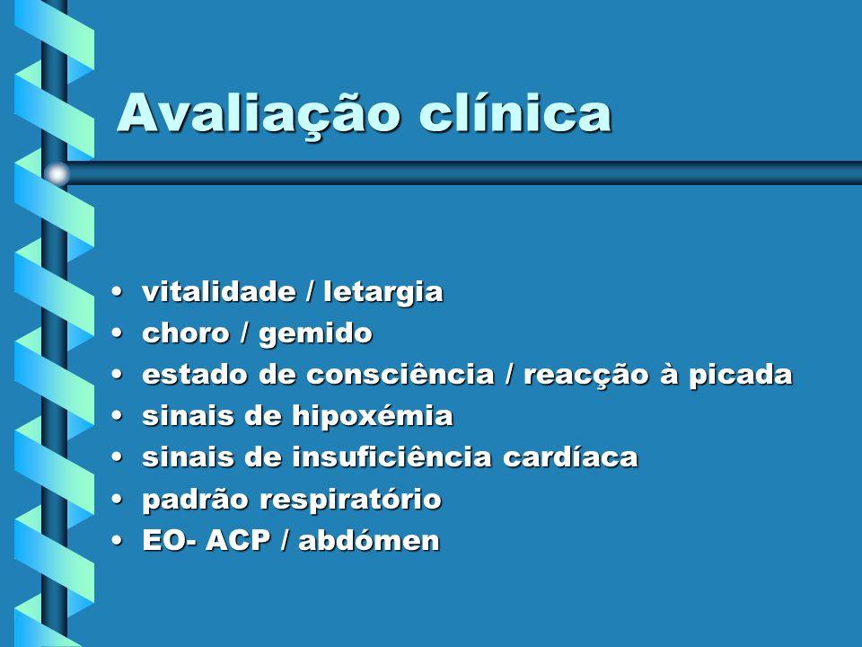 Avaliação clínica vitalidade / letargia choro / gemido