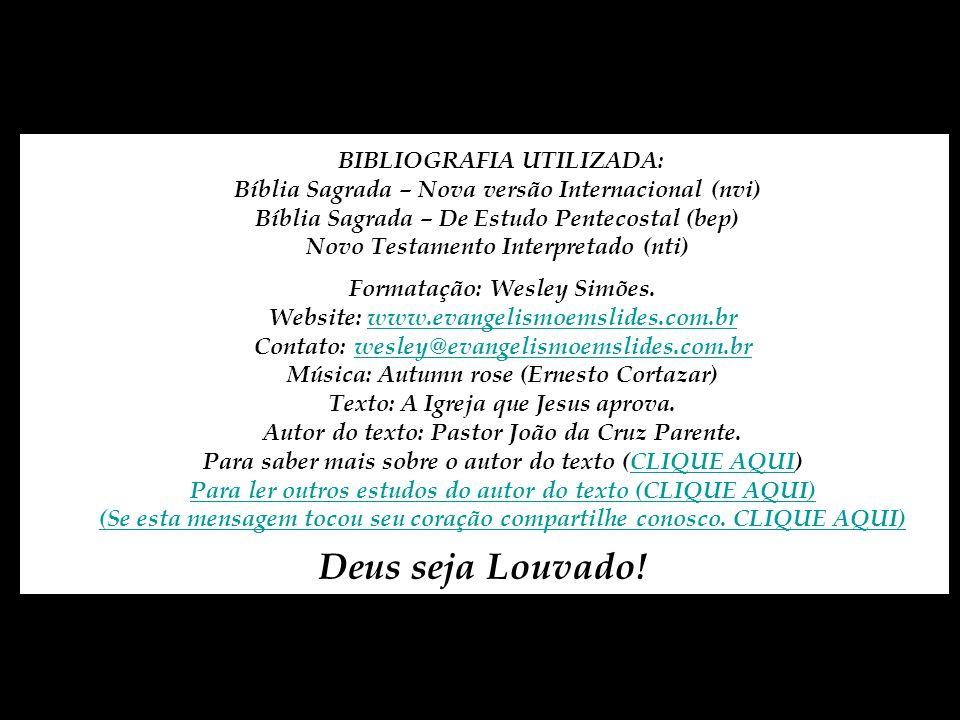 BIBLIOGRAFIA UTILIZADA: Bíblia Sagrada – Nova versão Internacional (nvi) Bíblia Sagrada – De Estudo Pentecostal (bep) Novo Testamento Interpretado (nti)