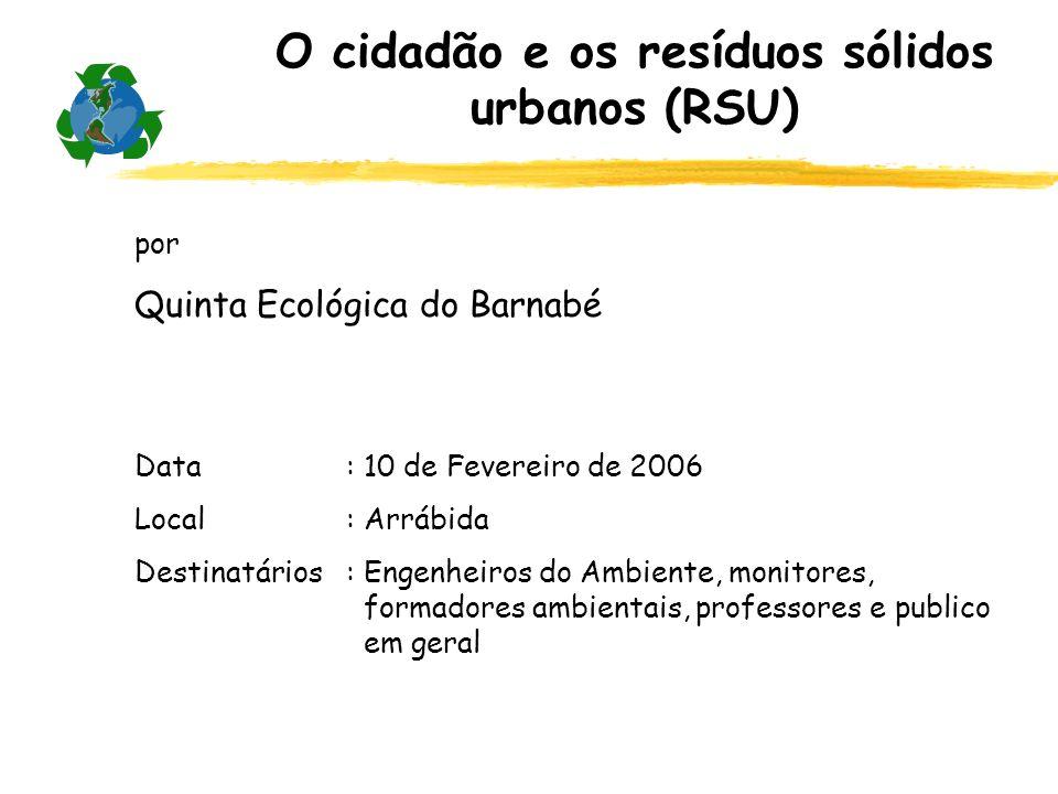 O cidadão e os resíduos sólidos urbanos (RSU)