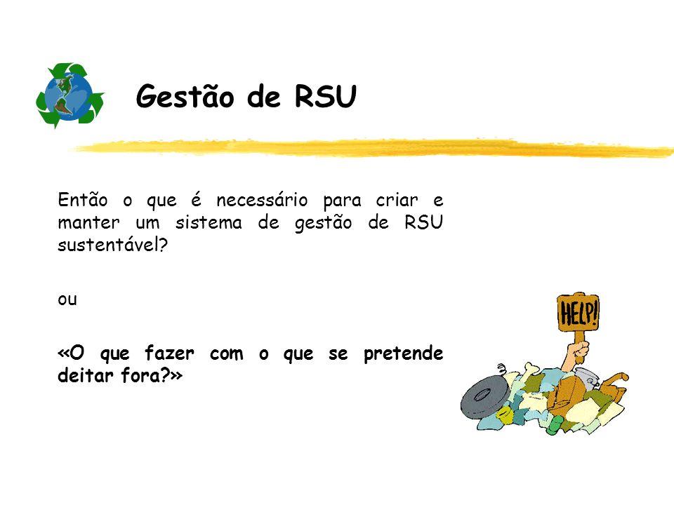 Gestão de RSU Então o que é necessário para criar e manter um sistema de gestão de RSU sustentável
