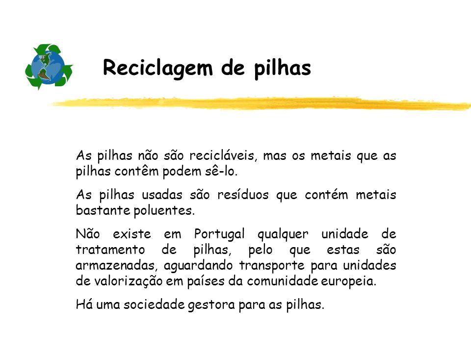 Reciclagem de pilhas As pilhas não são recicláveis, mas os metais que as pilhas contêm podem sê-lo.