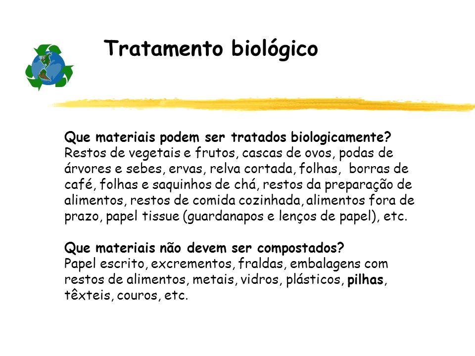 Tratamento biológico Que materiais podem ser tratados biologicamente