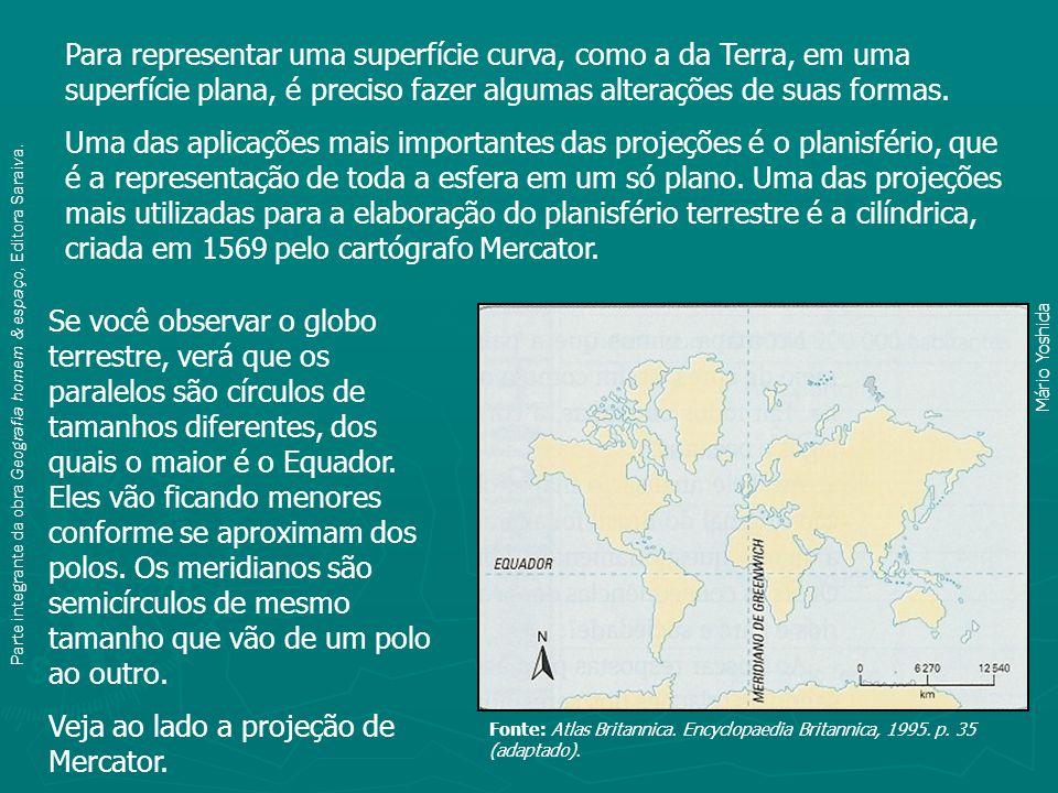 Veja ao lado a projeção de Mercator.