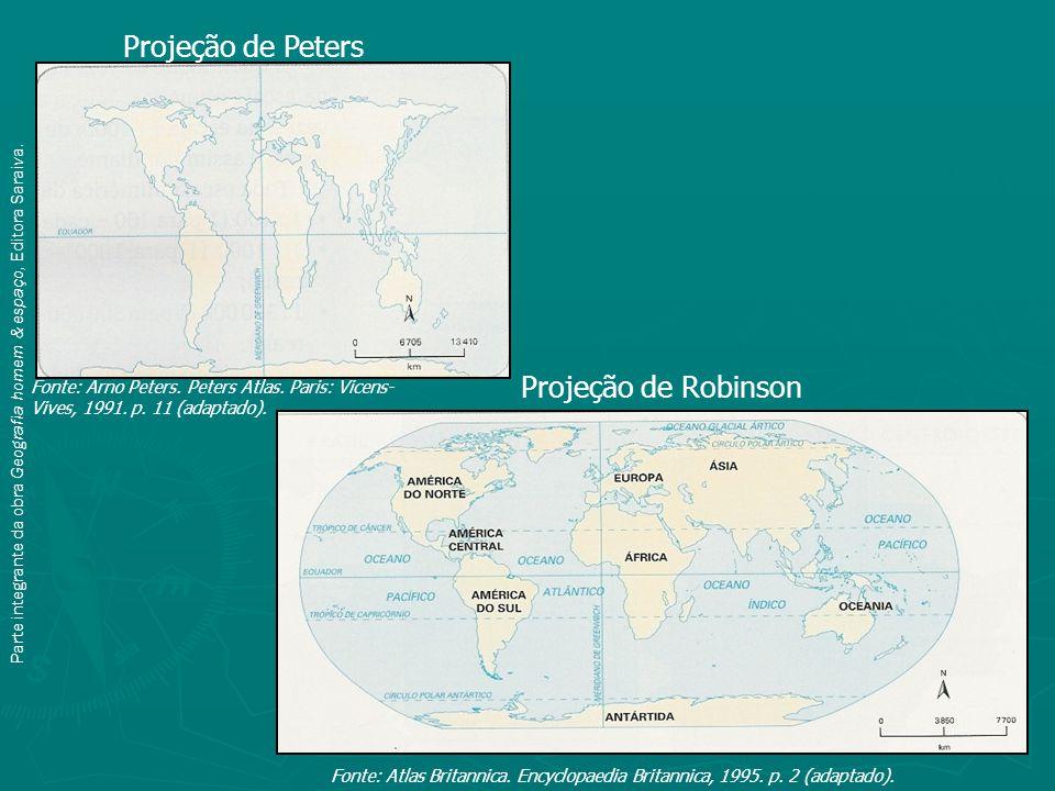 Projeção de Peters Projeção de Robinson