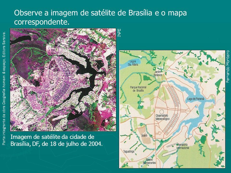Observe a imagem de satélite de Brasília e o mapa correspondente.
