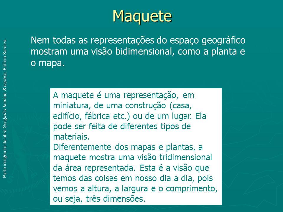 Maquete Nem todas as representações do espaço geográfico mostram uma visão bidimensional, como a planta e o mapa.