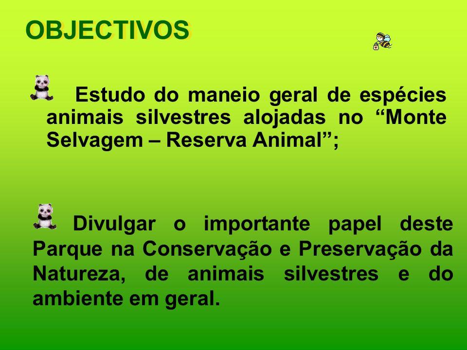 OBJECTIVOS Estudo do maneio geral de espécies animais silvestres alojadas no Monte Selvagem – Reserva Animal ;